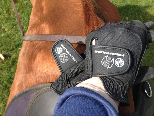 New gloves with monogram in action