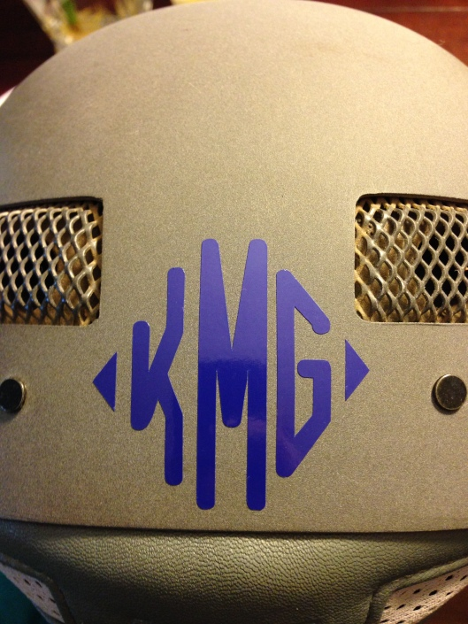 "My Relatively Stable helmet monogram - this is the 2"" size on my IRH"